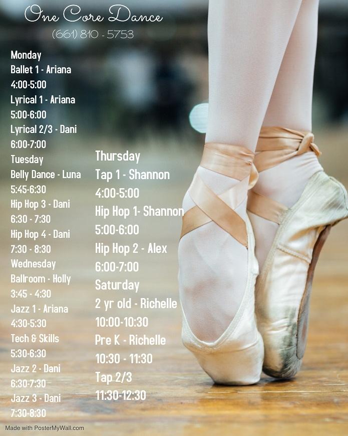 One Core Dance Schedule